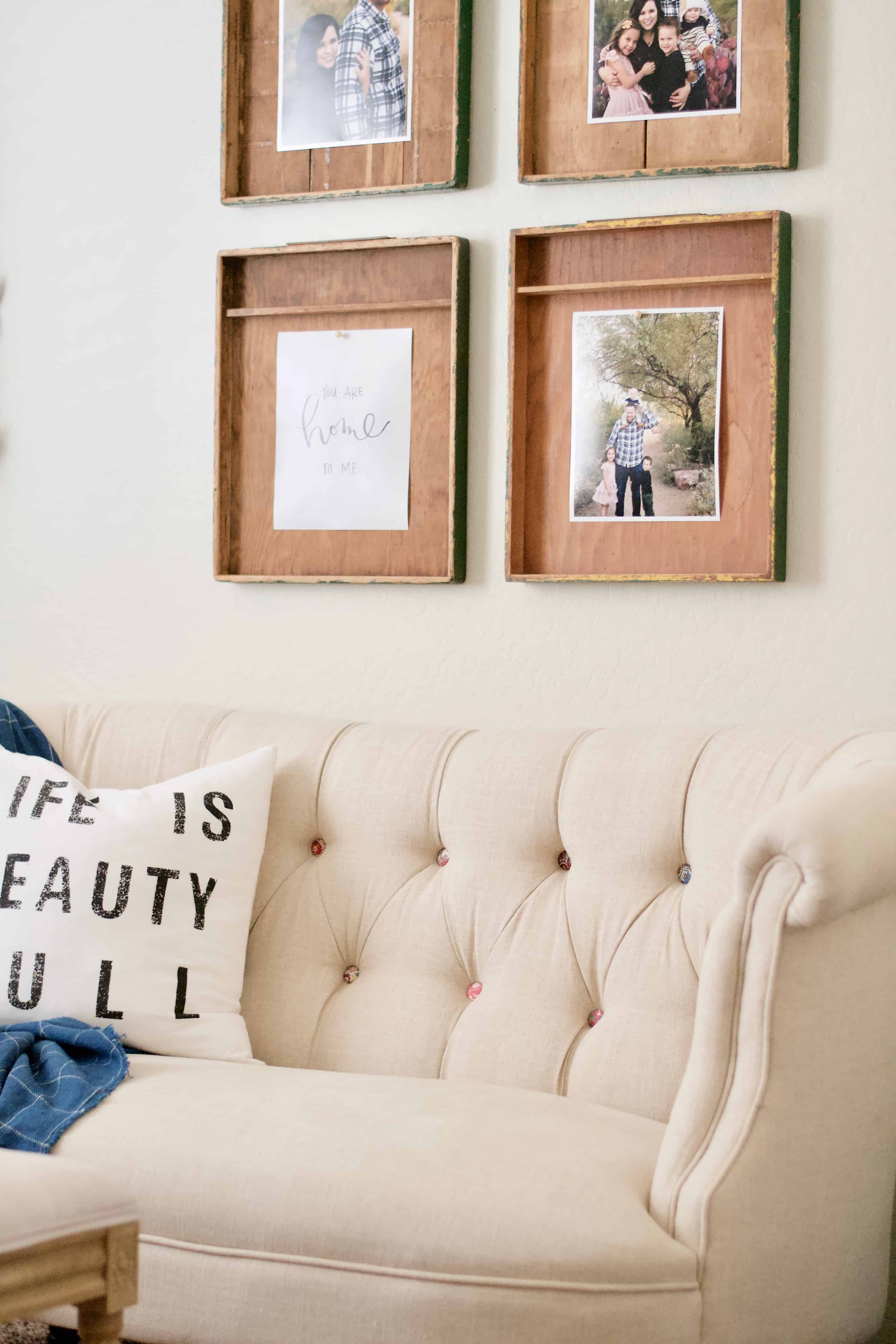 Farmhouse style gallery wall make really cool picture frames i knew i needed a couple of them to really make an impact in a gallery wall and now i wish i even grabbed more than 4 jeuxipadfo Choice Image