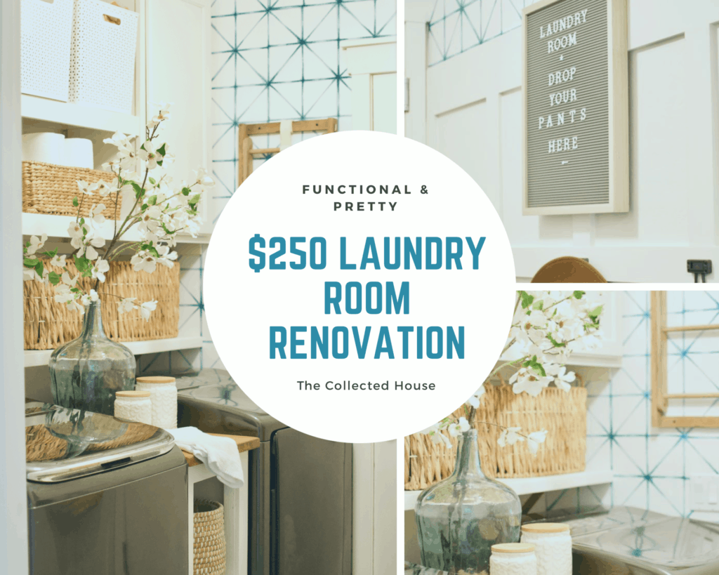 Save this post for later! Small laundry room solutions on a budget.