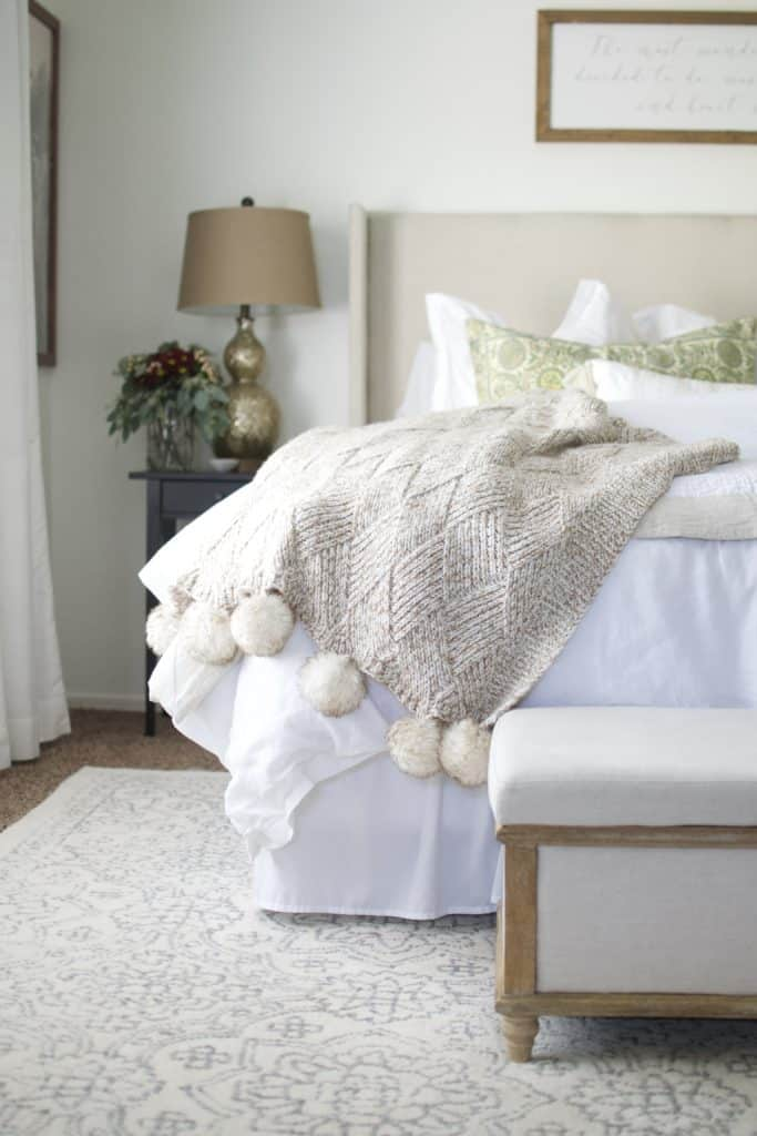 Neutral Texture in White Master Bedroom
